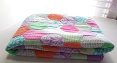 Handmade Baby Quilt 40 x 45 Lavender Multicolored by GabbysQuilts