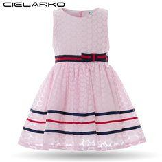 Cielarko Baby Girls Striped Dress Kids Sleeveless Cotton Bow Heart Dresses Children Summer Sunny Frock Design Clothes for Girl