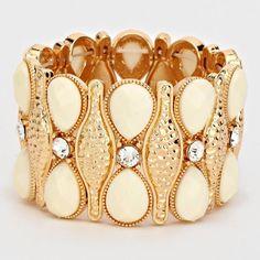 Fashion Bracelet Gold and ivory cuff stretch bracelet. Jewelry Bracelets