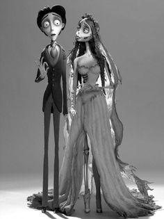 Johnny Depp as Victor Van Dort and Helena Bonham Carter as Emily from Tim Burton's film, Corpse Bride Estilo Tim Burton, Arte Tim Burton, Tim Burton Style, Corpse Bride Movie, Corpse Bride Costume, Tim Burton Corpse Bride, Hallowen Costume, Couple Halloween Costumes, Halloween Couples