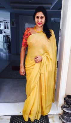 Discover thousands of images about Madhuri Atluri Indian Sarees, Silk Sarees, Saris, Aunty In Saree, Simple Blouse Designs, Saree Trends, Saree Models, Plain Saree, Elegant Saree