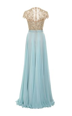 Embroidered Illusion Silk Chiffon Gown by Reem Acra for Preorder on Moda Operandi