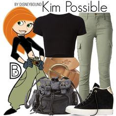 Kim Possible by leslieakay on Polyvore featuring Getting Back To Square One, J Brand, Converse, Charlotte Russe, Levi's, disney, disneybound and disneycharacter