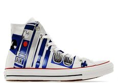 b80c7b944c4c R2D2 Droid style wars in the stars illustration custom converse High top  shoes sneakers trainers printed robot gift C3PO