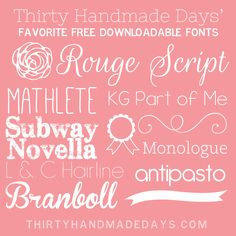 Favorite Free Downloadable Fonts + Dingbats from @30daysblog