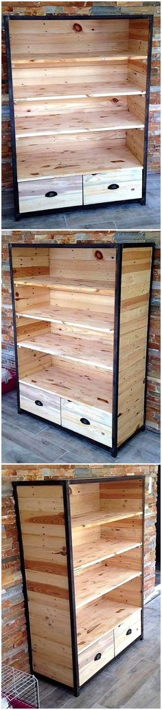 This is another smartly constructed wood pallets wardrobe plan. This wardrobe design seems marvelous as shown in the picture given below. It has three shelving racks in it and two large-size wooden drawers. it is best storage plan that can be easily used for storing bar items and kitchen products in it.