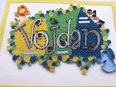 Typography , quilling name ;Vojdan,, typography made of paper and glue, decoration for children room Personalized Gifts For Kids, Quilling, Hanukkah, Paper Art, Kids Room, Typography, Decoration, Children, Bedspreads