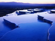 "Pamukkale Hot Springs - Turkey - ""The tectonic movements that took place in the depression of the fault of the basin of the river Menderes caused the appearance of numerous sources of hot springs. Is an enormous calcareous formation of almost two hundred meters of height by something more than two and a half miles in length."""