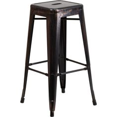30-Inch High Backless Metal Indoor-Outdoor Barstool with Square Seat -