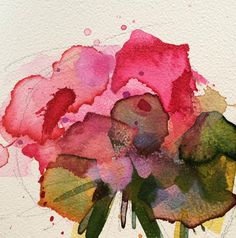 Pink Geranium no. 3 Original Floral Watercolor Painting by Angela Moulton 4 x 4 inch on Panel by prattcreekart on Etsy