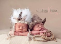 Newborn Indian Headdress-  Baby Hats,  Newborn Photography Props- Twin props- Twin Sets. $30.00, via Etsy.