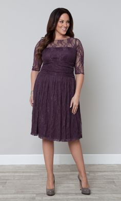 Love this beautiful shade of purple in the Plus Size Luna Lace Dress by Kiyonna.  #PlusSizeFashion