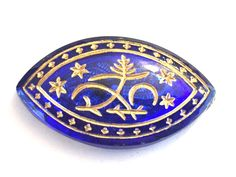 VIntage+cabochon+(1)+VIctorian+glass+cab+sapphire+blue+etched+gold+mosaic+egyptian+revival+navette+intaglio+(1)+by+a2zDesigns+on+Etsy Blue Sapphire, Egyptian, Mosaic, Mosaics, Mosaic Art, Tile Mosaics
