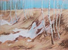 Spring landscape in warm colors depicts the last remaining winter snow that will melt soon. Calm and cozy painting will look great in the interior.