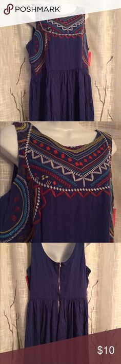 """Xhilaration blue flowey Aztec embroidered dress XL Being offered is a new with tags xhilaration blue embroidered top Aztec type print size XL zipper back. Dress is not see thru it has a lining. Measures 32"""" top to bottom 20"""" elasticize waist cute dress smoke free home I do bundle and take reasonable offers no trades. Xhilaration Dresses Midi"""