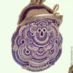 Магия фиолетового - темно-фиолетовый,орнамент,сумочка с фермуаром,сутажная техника