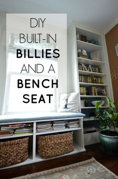 built in billies and a bench seat... using IKEA to rock out your home office