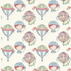 Beautiful Balloons by Sanderson - Red / Blue / Green - Fabric : Wallpaper Direct Textures Patterns, Fabric Patterns, Color Patterns, Print Patterns, Framed Wallpaper, Fabric Wallpaper, Air Balloon, Balloons, Harlequin Fabrics