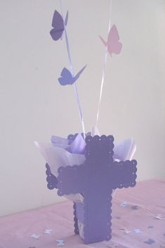 Baptism Balloon Centerpieces with Cross & by SetToCelebrate