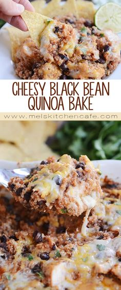 Healthy and delicious, this cheesy black bean quinoa bake is quick and easy, making a perfect weeknight meal! Serve it on its own or with tortilla chips (it would also make a delicious filling for burritos, too!).