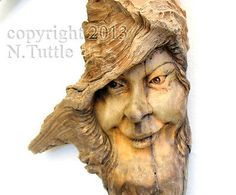 ORIGINAL WOOD SPIRIT CARVING FAIRY FAERIE GODDESS NYMPH MAGIC OOAK NANCY TUTTLE