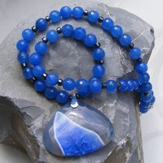 Necklace in Sterling Silver with Blue Jade, Haematite and Agate £29.75