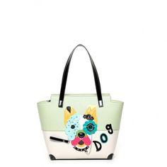 Borsa Braccialini shopper manici lunghi Dog Flower B9283 #braccialini #borse #handbags #fashion #accessories