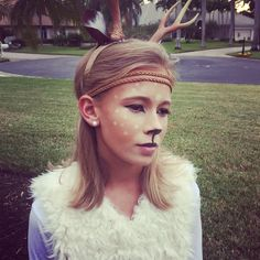 Deer costume and makeup for middle school and teens Halloween Costume History, Native American Halloween Costume, Cute Halloween Costumes, Couple Halloween, Disney Halloween, Halloween Kids, Pirate Costumes, Halloween 2016, Girl Group Costumes