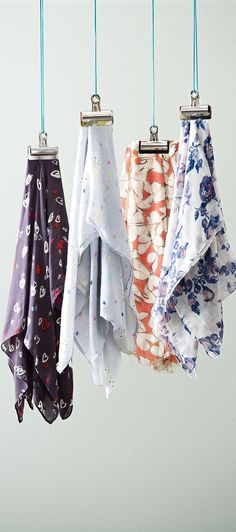 Hang your scarves from bulldog clips