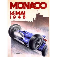 1948 Monaco Grand Prix by Artist Geo Ham Wood Sign