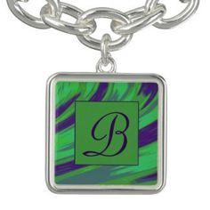 Monogram Bracelet Green Blue design #zazzle #jewelry #gifts #style