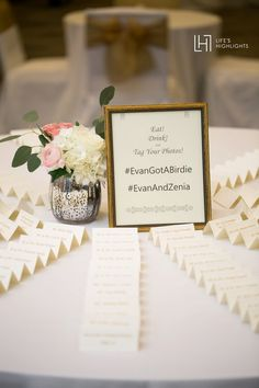 Tented escort card display on a round table - Lake Mary, Florida