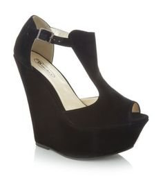 Black Platform T-Bar Peeptoe Wedges