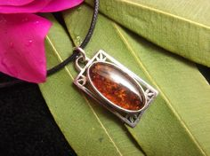 Baltic Amber Pendant Sterling Silver Resin Semi Precious Gemstone Jewel Fossilized Gel Artisan Design Pendant Necklace Boho Jewelry