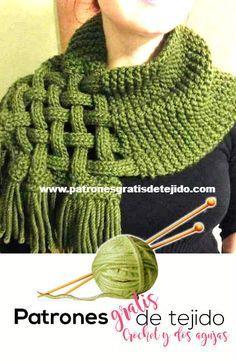 Cómo tejer un collar cálido con dos agujas # agujas # cálido # Cómo . Diy Crafts Knitting, Free Knitting, Baby Knitting, Knitting Patterns, Crochet Patterns, Snood Knitting Pattern, Crochet Scarves, Crochet Shawl, Knit Crochet
