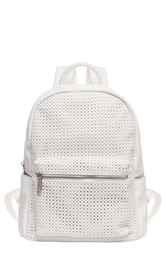 This except in black for being touristy in Europe. Urban Originals 'Lola' Perforated Backpack available at White Backpack, Backpack Bags, Stitch Backpack, Faux Leather Backpack, Leather Bags, Cool Backpacks, Vegan Leather, Polyvore, Originals