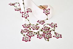 Crochet Necklace Cherry Blossom Burgundy and Grey by ReddApple, #ReddApple #Designscope