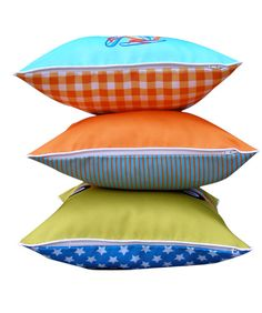 set of three cushions for little boys who love retro adventures, bright colours, surfboard, combi van and the bettle car