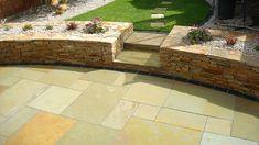 Yellow Limestone Patio By Flynn Landscpaes Limestone Patio, Granite Paving, Patio Wall, Diy Garden Projects, Travertine, Natural Stones, Perennials, Garden Design, Yard