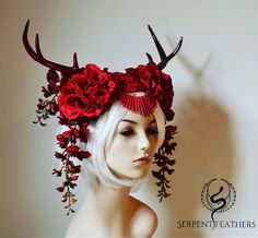 "440 Likes, 6 Comments - Ka Amorastreya (@kaamorastreya) on Instagram: ""Scarlet Stag Headdress!!! ❤️ finally finished and ready to crown some elegant creature. …"""