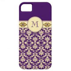 iPhone5 Purple Pale Gold Damask Monogram