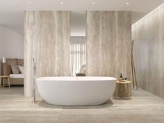 Travertine Stone - Perfect for Fireplace House Tiles, Wall And Floor Tiles, Large Format Tile, Interior Architecture, Interior Design, Stone Bathroom, Bath Tiles, Wet Rooms, Floor Design