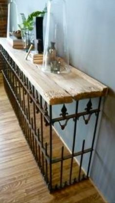 West End Salvage- Console table from re-purposed barn siding and wrought iron fence, fabulous!