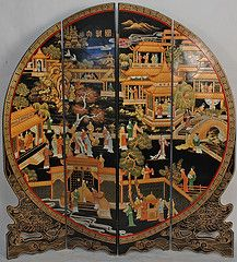 Antique Chinese folding screen