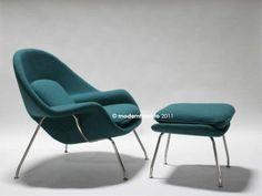 Premium Turquoise Womb Chair Ottoman Mid Century Danish Modern Retro Design | eBay