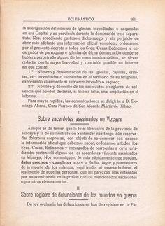 Sacerdotes vascos asesinados. Hace 78 años los reflejó el boletín de la Diócesis de Vitoria (27 de Julio de 1937) | Verdades que ofenden..