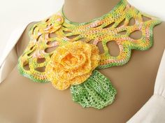 END OF SUMMER CLEARANCE! Was $23.00  Crochet collar. Freeform crochet collar necklace with 3D flowers. Summer collar necklace. OOAK OOAK