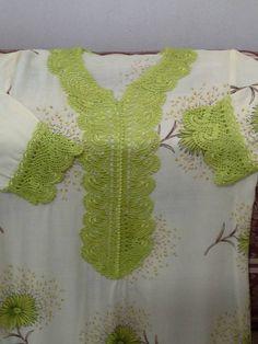 Crochet Collar, Crochet Tunic, Salwar Designs, Couture, Metallic Thread, Chrochet, Diy And Crafts, Sewing Patterns, Crochet Necklace