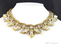 "Vintage Designer Quality Clear Rhinestone Leaf Accent Mesh Choker Necklace 15"""