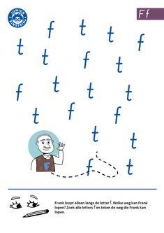 Verbind de letter F [3] - Op dit werkblad oefen je met het herkennen van de letter F. Frank loopt alleen langs de letter F. Welke weg kan hij lopen? Verbind alle letters F met elkaar om dat te weten te komen. Om te kunnen leren lezen en schrijven is het belangrijk dat je alle letters van het alfabet herkent. Op werkbladen van Junior Einstein kun je daarmee oefenen.